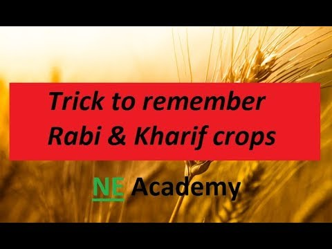 Trick to remember names of rabi and kharif crops easily